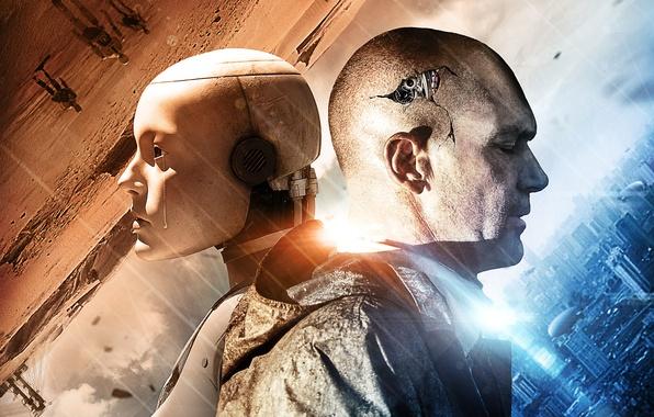 Фото обои трещины, фантастика, механизм, робот, голова, шестеренки, слеза, постер, Antonio Banderas, Антонио Бандерас, Automata, Страховщик