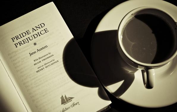 Картинка кофе, книга, разное, the, book, Джейн Остин, a coffee, Pride and Prejudice, Jane Austen, гордость …