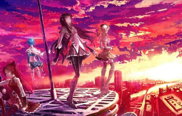 Картинка небо, облака, закат, город, оружие, девушки, здания, дома, меч, аниме, арт, mahou shoujo madoka magica, …