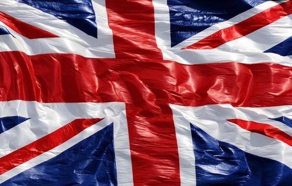 Картинка Англия, Красный, Синий, Белый, Полосы, Линии, Флаг, Великобритания, Текстура, Полотно, Помятость, Кресты
