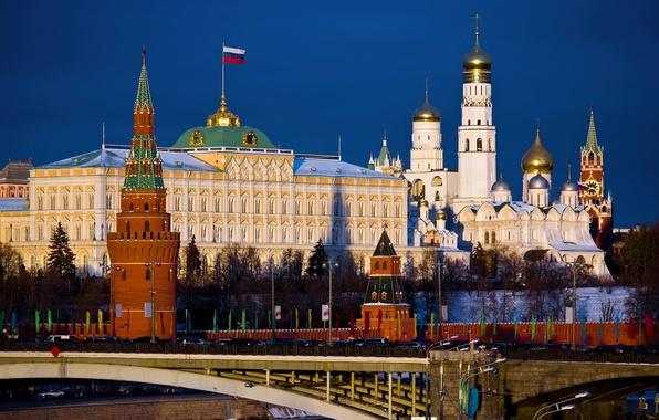 Картинка мост, город, обои, москва, флаг, кремль, wallpaper, Россия, Moscow, столица