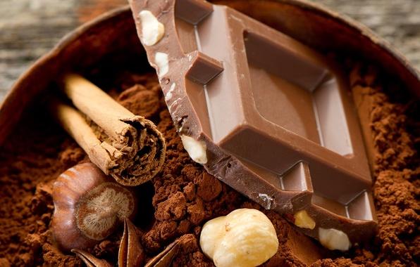 Картинка еда, шоколад, орехи, десерт, food, 1920x1200, сладкое, chocolate, sweet, nuts, какао, dessert, cocoa