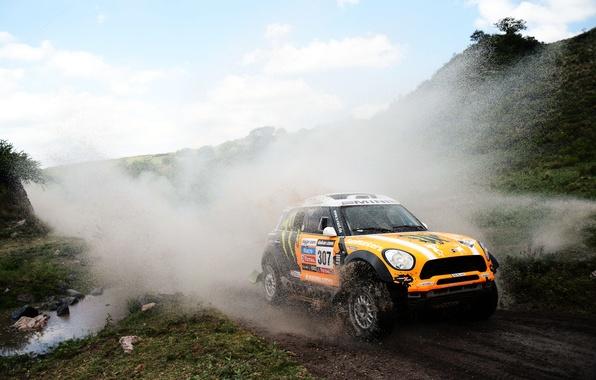 Картинка оранжевый, Вода, Авто, Mini, Спорт, Машина, Брызги, Фары, Mini Cooper, Rally, Dakar, Мини