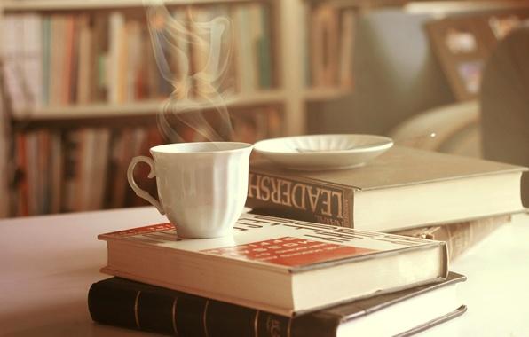 Картинка книги, пар, кружка, чашка, блюдце