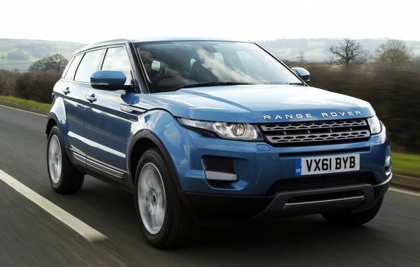 Картинка дорога, небо, синий, Land Rover, Range Rover, передок, Evoque, кроссовер, Ленд Ровер, Эвок, Ренж Ровер, …