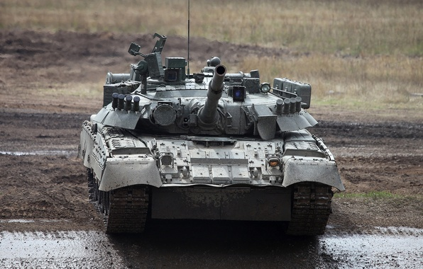 Картинка грязь, танк, полигон, боевой, Т-80