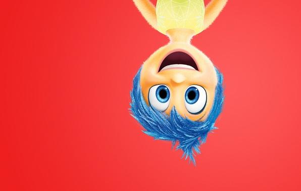 Картинка girl, character, dress, blue eyes, happiness, adventure, upside down, emotions, blue hair, 2015, Joy, Pixar …