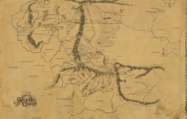 Картинка карта, Властелин колец, Дж. Р. Р. Толкин, The Lord of the Rings, Средиземье