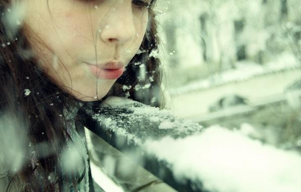 Картинка зима, девушка, снег, снежинки, дети, настроения, шапка, брюнетка, девочка