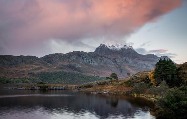 Картинка осень, небо, снег, деревья, тучи, озеро, гора