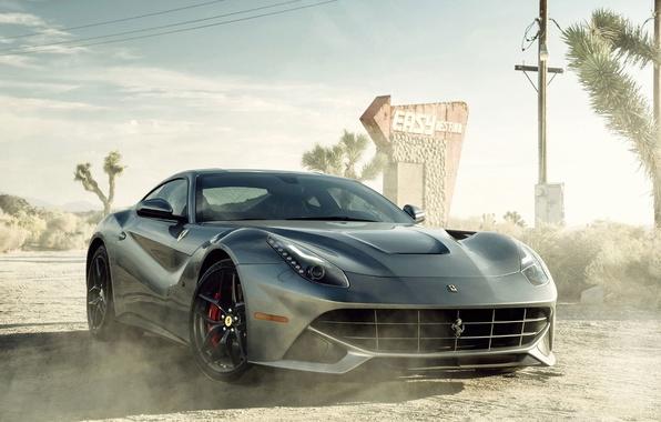 Картинка Пыль, Пустыня, Феррари, Ferrari, Car, Автомобиль, Berlinetta, F12, Sportcar, Dust