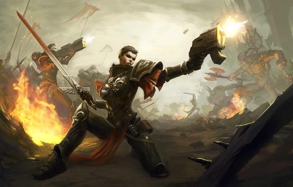 Картинка пистолет, война, женщина, меч, warhammer 40000, sisters, Sisters of Battle, Warhammer 40K