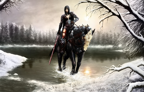 Картинка зима, лес, девушка, снег, брызги, озеро, конь, кровь, меч, арт, капюшон