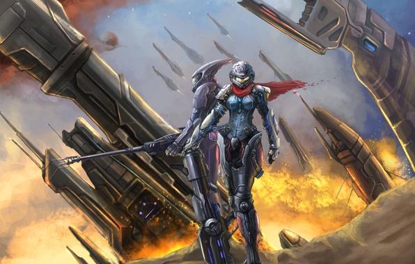 Картинка девушка, металл, оружие, огонь, корабль, робот, скафандр, арт, ствол, park jae-cheol
