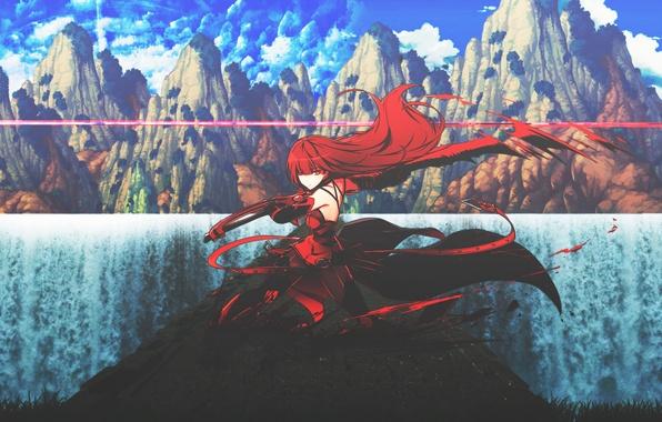 Картинка девушка, горы, природа, оружие, меч, аниме, арт, dinocojv
