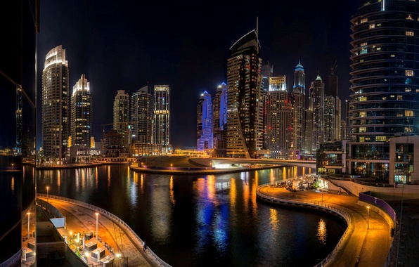 Картинка дорога, море, ночь, мост, город, здания, небоскребы, Дубай, Dubai, высотки, ОАЭ