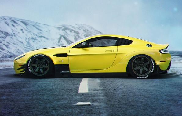 Картинка Aston Martin, Car, Yellow, Side, Sport, Vanquish, Stance