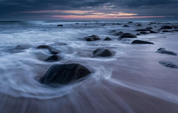 Картинка небо, закат, тучи, камни, берег, вечер, Австралия, Тасманово море