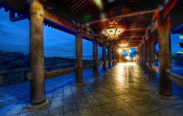 Картинка лес, япония, вечер, фонари, киото
