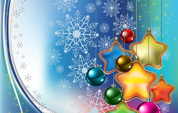 Картинка звезды, шарики, украшения, снежинки, шары, игрушки, графика, звёзды, Рождество, Новый год