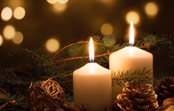 Картинка новый год, рождество, ель, свечи, шишка