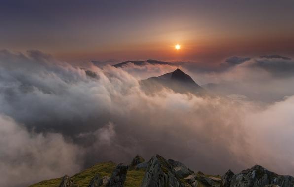 Обои солнце, облака, пейзаж, горы, Wales, Nant Gwynant