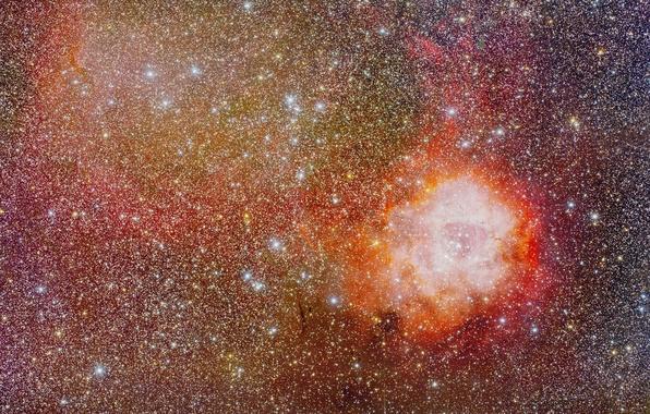 Картинка космос, Туманность, Розетка, Единорог, NGC 2237, в созвездии, Rosette