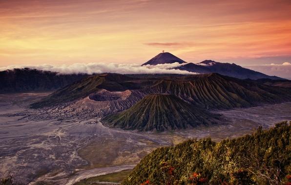 Картинка пейзаж, природа, фото, Индонезия, вулканы, гора Бромо