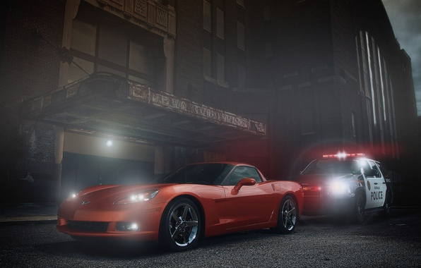 Картинка Corvette, Chevrolet, Muscle, Orange, Car, Police, Ligth