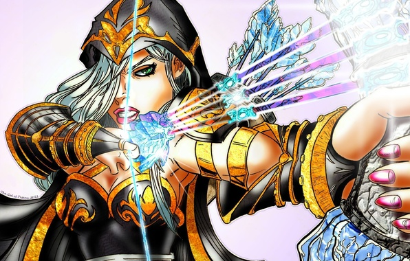 Картинка взгляд, девушка, лицо, арт, Ashe, ледяные стрелы, league of Legends