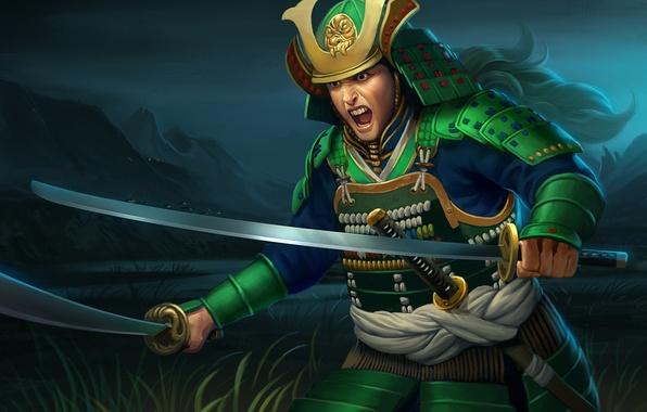 Картинка ночь, оружие, азия, меч, арт, ярость, самурай, мужчина, крик, доспех, каната