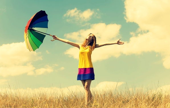 Картинка поле, лето, небо, свобода, девушка, солнце, облака, счастье, природа, улыбка, зонтик, фон, обои, настроения, растения, …