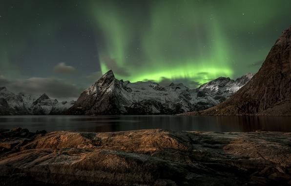 Картинка горы, Норвегия, mountains, Norway, Aurora Borealis, Lofoten, Лофотенских островах