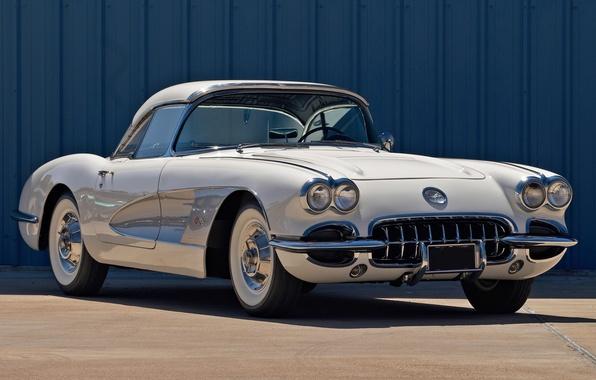 Картинка белый, Corvette, Chevrolet, Шевроле, передок, 1958, Корвет