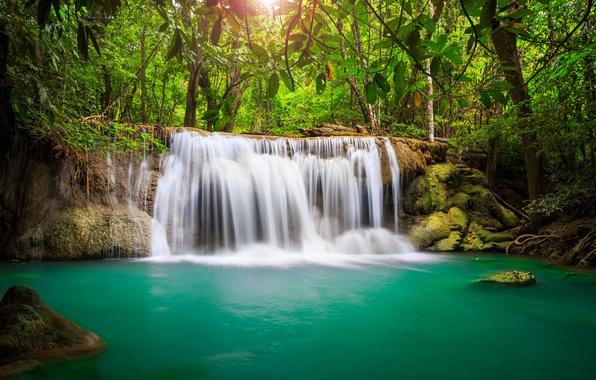 Картинка море, небо, листья, облака, деревья, пейзаж, природа, водопад, озера, Таиланд, красивая, sky, trees, sea, landscape, …