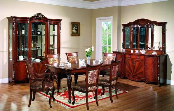 Картинка цветы, стол, стулья, интерьер, картина, окно, посуда, ваза, шкафы