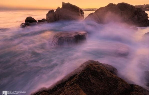 Картинка закат, камни, photographer, прилив, Kenji Yamamura