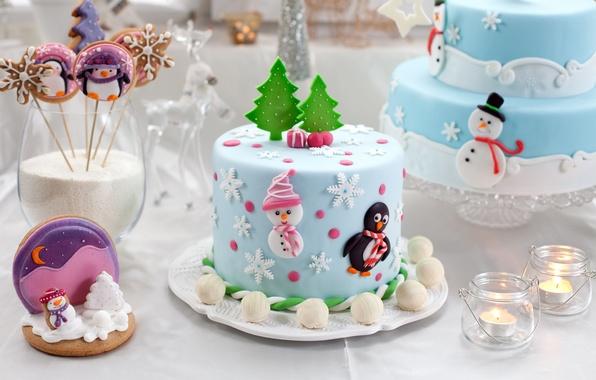 Картинка стол, свечи, Новый Год, печенье, Рождество, конфеты, сладости, Christmas, фигурки, десерт, выпечка, праздники, New Year, …