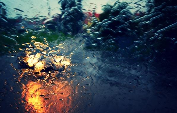 Картинка дорога, car, машина, стекло, вода, капли, макро, свет, city, город, фон, дождь, widescreen, обои, улица, …