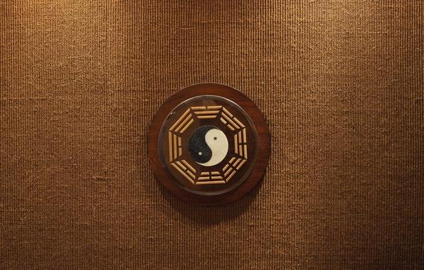 Картинка фон, дерево, знак, текстура, символ, коричневый, бежевый, инь-ян