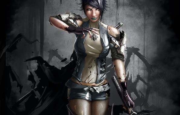 Картинка девушка, оружие, кровь, шорты, меч, арт, кулон, ptitvinc, обрывки