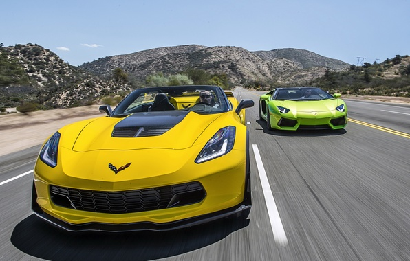 Картинка Lamborghini, Z06, Corvette, Chevrolet, суперкар, кабриолет, шевроле, ламборджини, корвет, LP700-4, Aventador, авентадор, Convertible