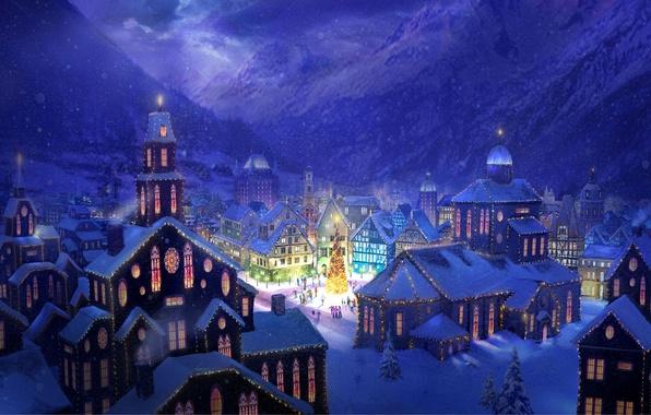 Картинка снег, горы, город, огни, праздник, рисунок, елка, дома