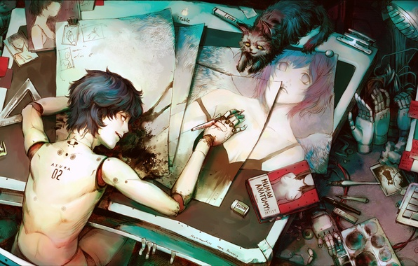 Картинка рисунок, робот, Robot, человека, asuka, анатомия