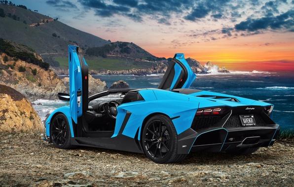 Картинка море, океан, побережье, фотошоп, Lamborghini, суперкар, Aventador, Lamborghini Aventador, Lamborghini Aventador LP720-4 50 Anniversario