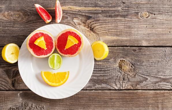 Картинка апельсин, тарелка, фрукты, fresh, десерт, грейпфрут, face, funny, fruits