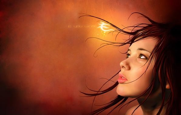 Картинка взгляд, девушка, свет, волосы, текстура