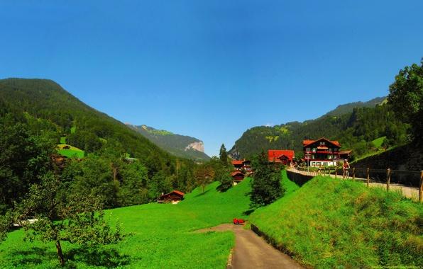 Картинка дорога, лето, трава, деревья, пейзаж, велосипед, человек, дома, Город, Швейцария, день, art, страна, Берн Лаутербруннен