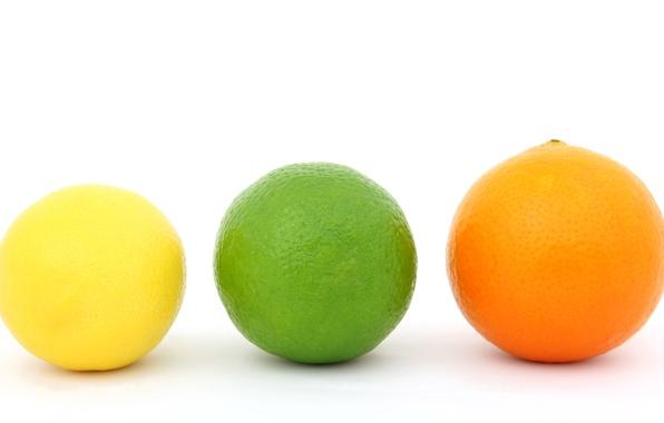 Картинка лимон, апельсин, лайм, цитрус, фрукты