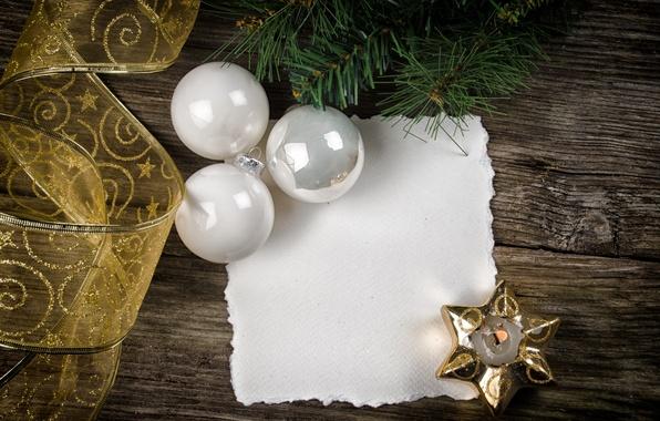 Картинка шарики, бумага, доски, звезда, елка, свеча, ветка, Новый Год, Рождество, лента, белые, Christmas, New Year